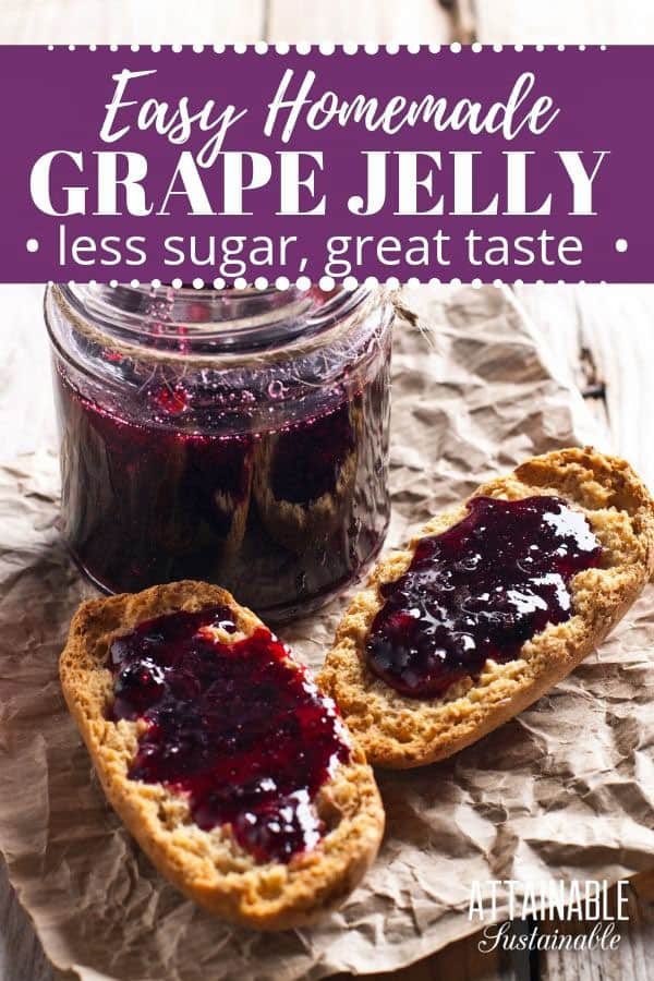 jar of purple jelly with two slices of homemade bread