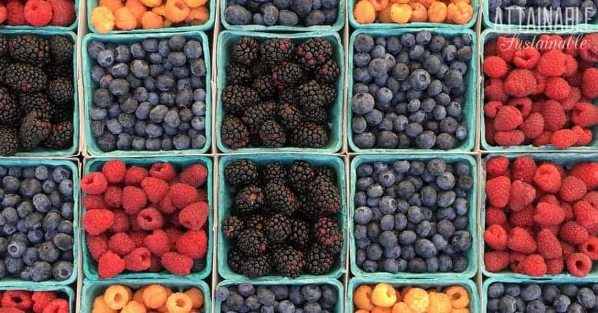 healthy fresh berries in paperboard baskets