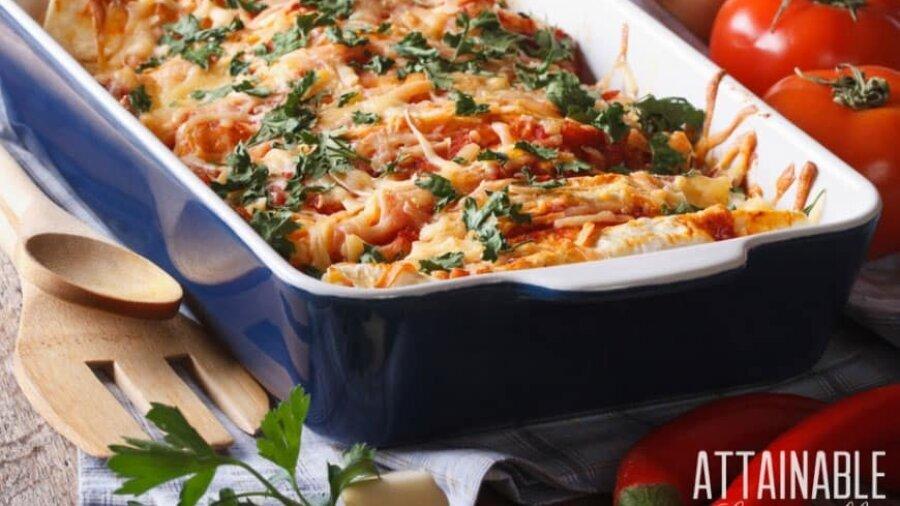 lasagna in a blue casserole dish