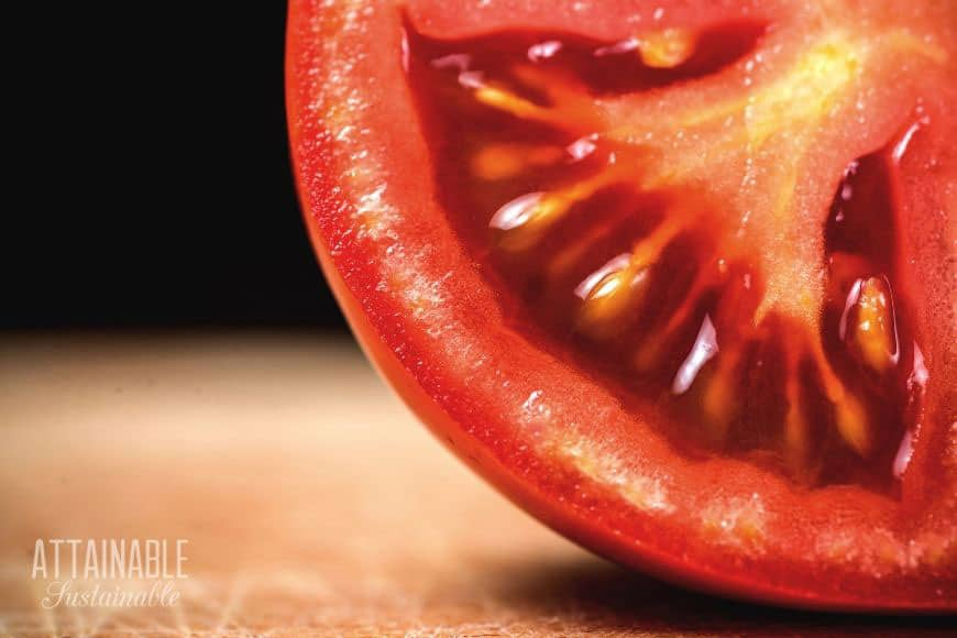 a close up of a tomato cut in half