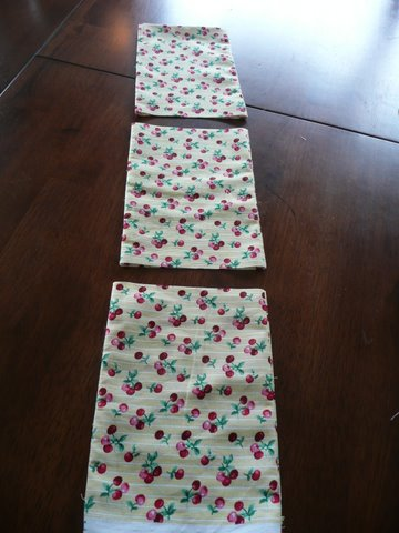 Three reusable cloth bags, almost done