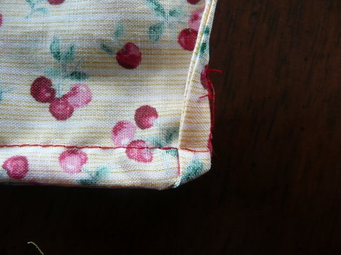 close up of corner on homemade cloth bag