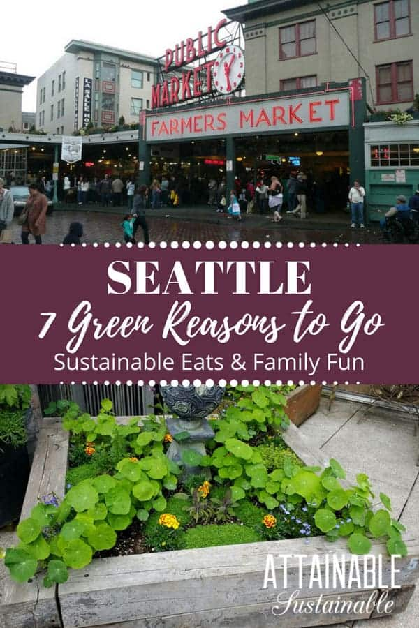 Visit Seattle! The city is a hotbed of sustainability efforts, from local food to city-wide composting efforts. It's a great choice for family travel, and a foodie's delight. #travel #Seattle #green