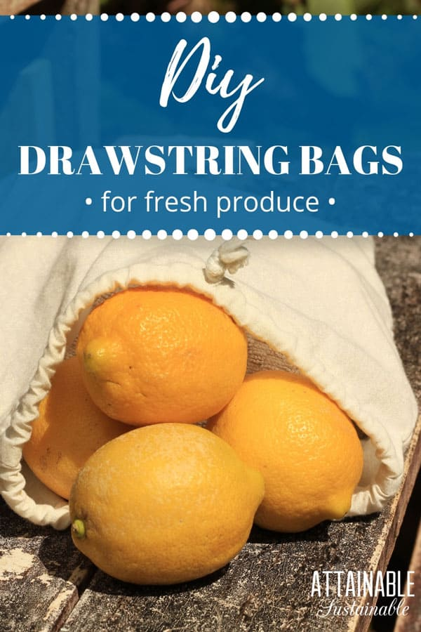 white drawstring bag with yellow lemons