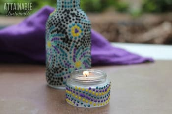decorating glass jars and bottles with dots of paint