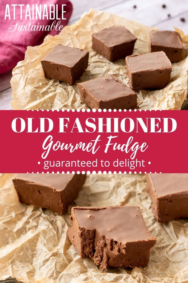 several squares of gourmet fudge, one with a bite out of it, on a brown paper background