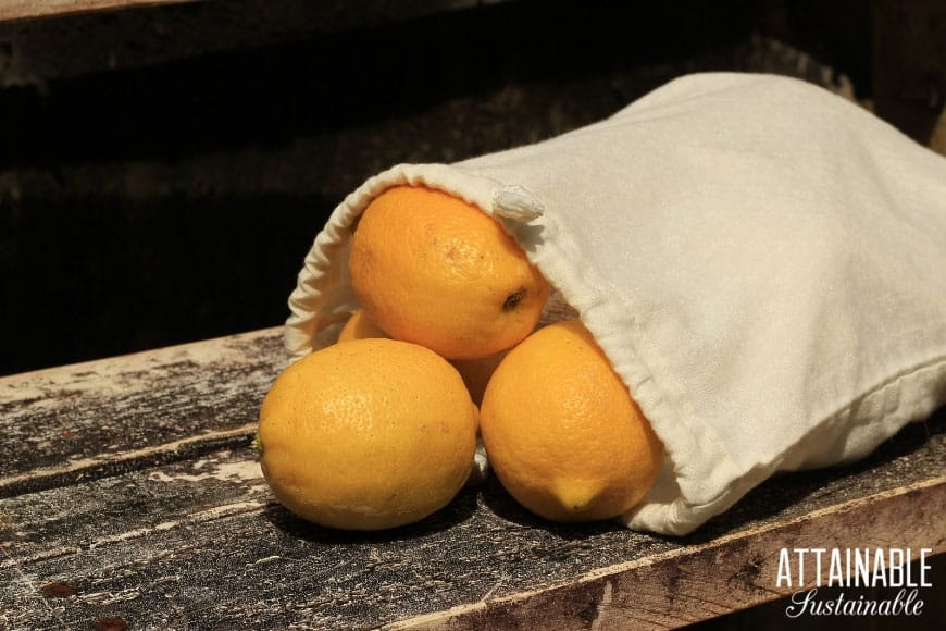 reusable produce bag with yellow lemons - to reduce single use plastic waste