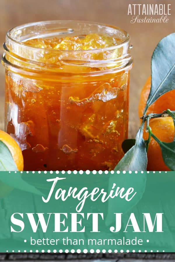 tangerine jam in a glass jar with fresh tangerines on a wooden table.