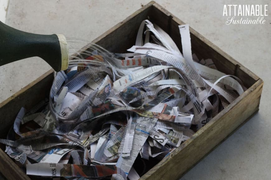 shredded newspaper in a wooden box