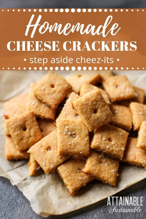 homemade cheese crackers on a brown piece of paper