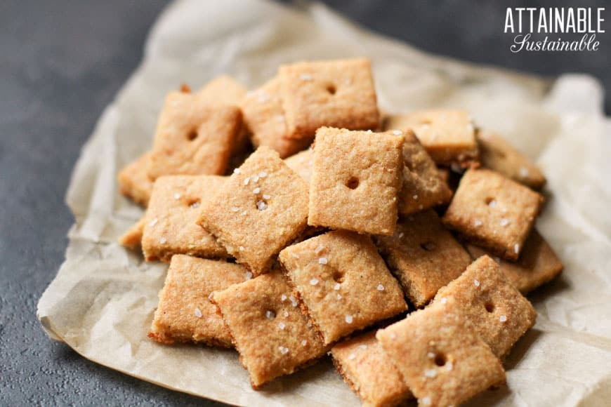 homemade cheese crackers on a brown paper