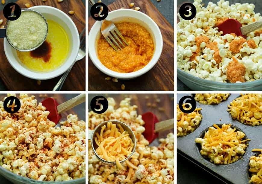 in process photos, making cheddar popcorn snacks