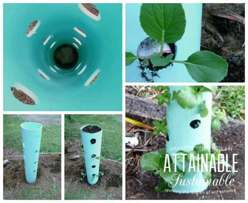 images of DIY garden tower from different angles