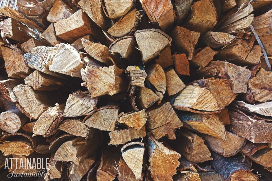 stacked firewood for practical preppers