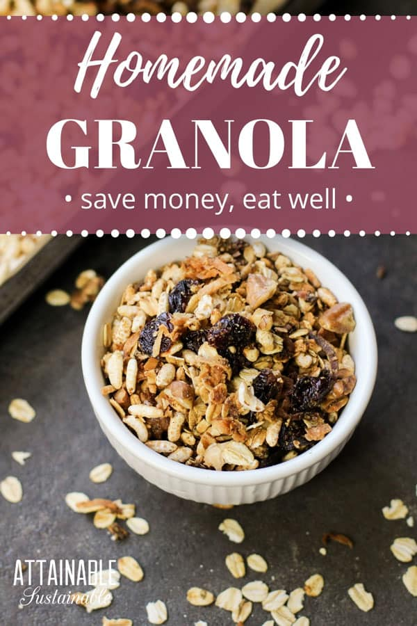 Here's how to make granola at home for a breakfast that's heartier than boxed cereal, healthier than boxed cereal, and less expensive than boxed cereal. Plus? Less packaging. This recipe doesn't require any measuring and it's entirely flexible so you can include your favorite ingredients.  #breakfast #pantry #recipe