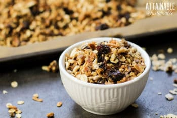 healthy homemade granola in a white bowl\