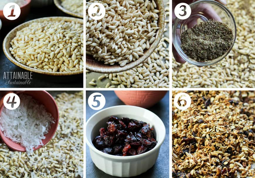 ingredients for honey granola recipe: puffed rice, flax, coconut,