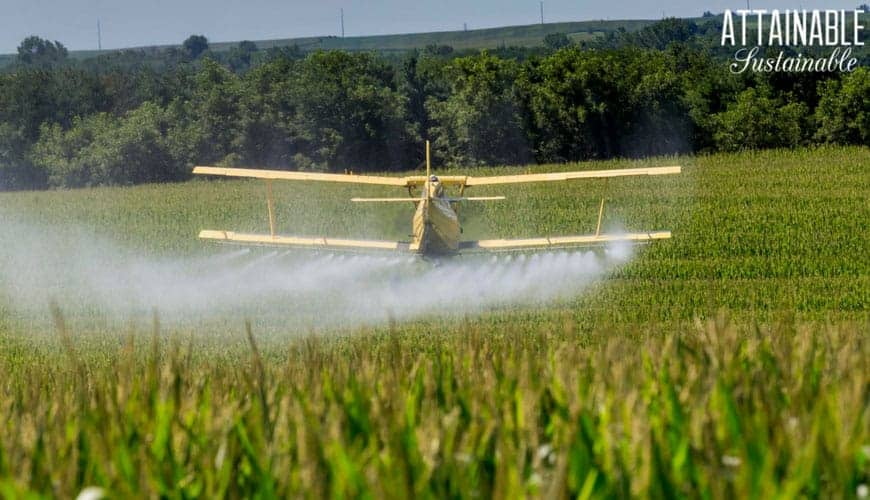 cropduster spraying poison - discussing the pros and cons of gmo crops