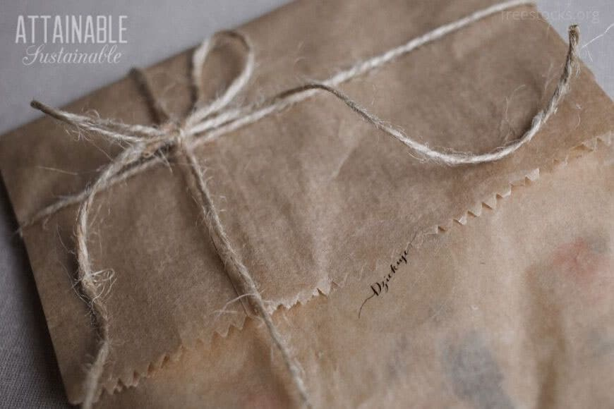 brown paper wrapping with a tie makes eco friendly packaging easy