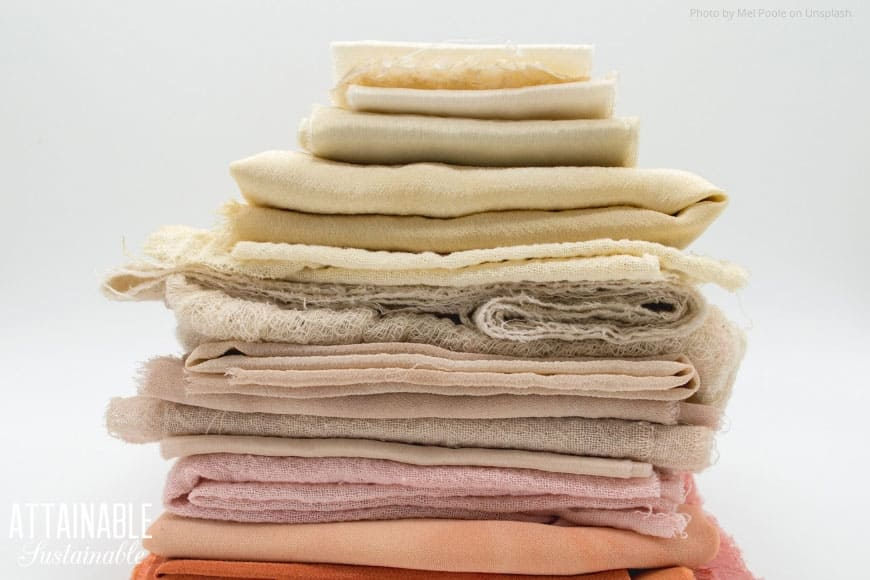 stacked kitchen towels in pastel tones
