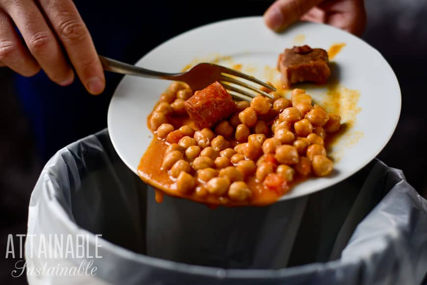 hand scraping leftover meal off white plate into trash - food waste in action