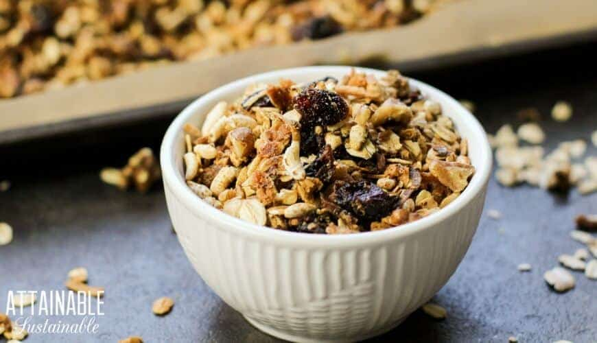homemade granola in a white ceramic bowl