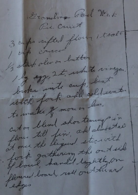 Grandma's pie recipe