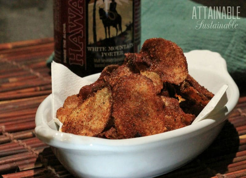 Have you ever considered making your own homemade barbecue potato chips? This recipe knocks the store bought versions out of the park.