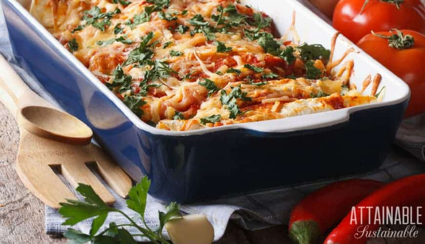 chicken casserole in a blue baking dish