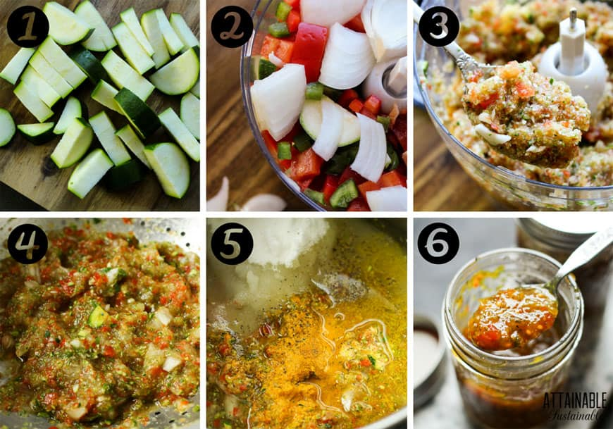 the process of making zucchini relish with chopped veggies