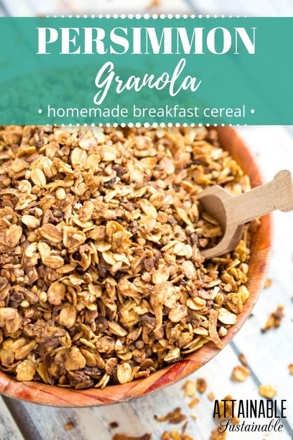 healthy homemade granola in a wooden bowl
