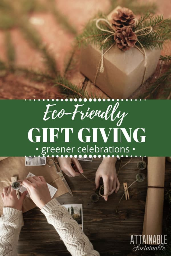 brown paper wrapped gift with a pine cone and greenery, hands making gifts