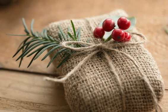 burlap wrapped gift for eco friendly gift ideas