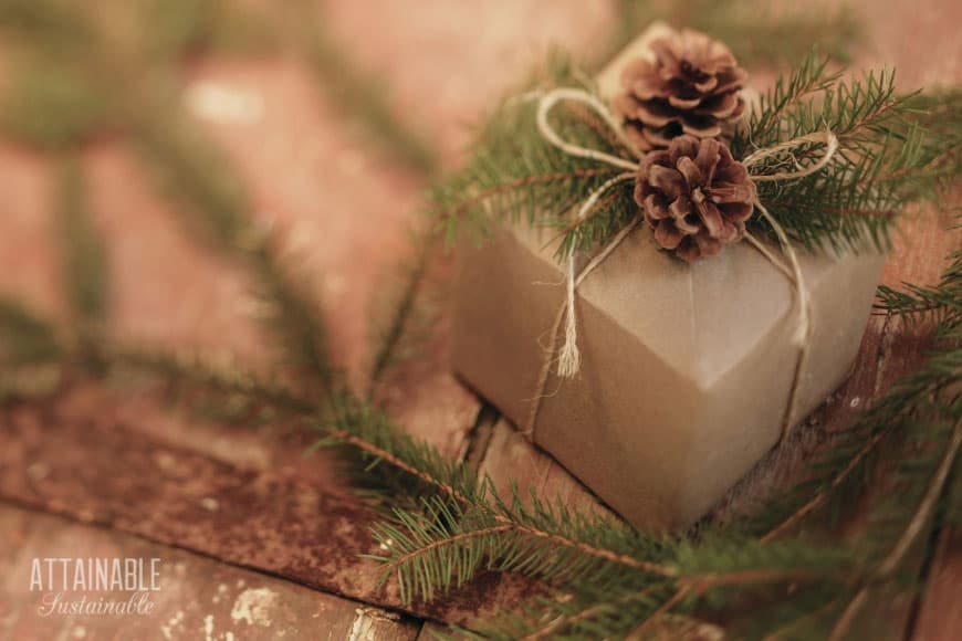 brown paper wrapped package with a pine cone and greenery