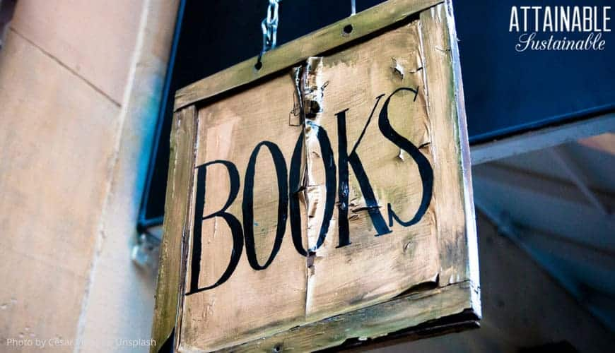 aged 'books' sign