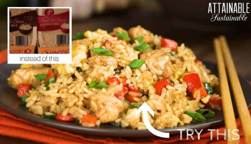 fried rice on plate with chopsticks
