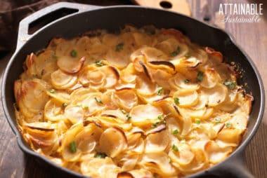 au gratin potatoes in a cast iron pan