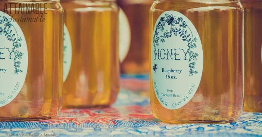 Jars of organic honey