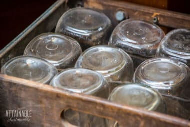 canning jars in a wooden box