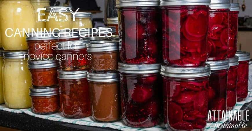 jars of home canning on a shelf - text: Easy canning recipes perfect for novice canners