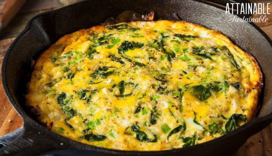 egg frittata in a cast iron skillet