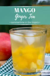 mango tea in a glass with ice