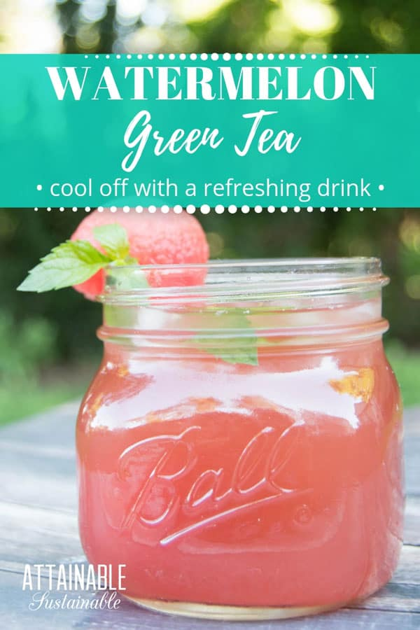 watermelon green tea, pink drink in a ball jar