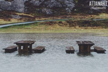 flooded picnic tables