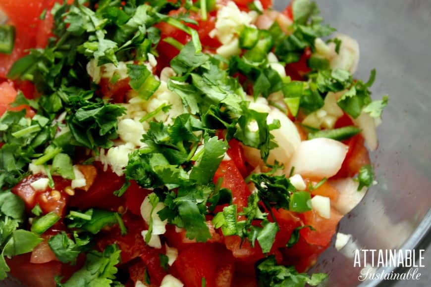garden fresh salsa ingredients in a glass bowl