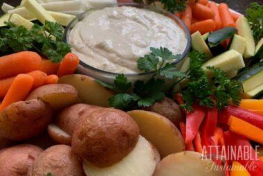 caesar salad dressing recipe in a bowl with veggies