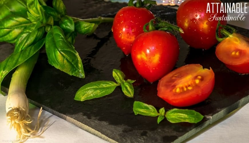 fresh tomatoes and basil on a cutting board