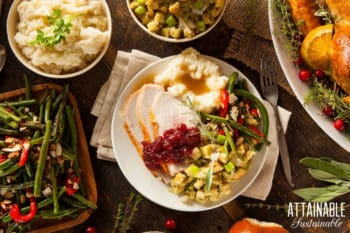 holiday meal from above -- plate with turkey, stuffing, mashed potatoes
