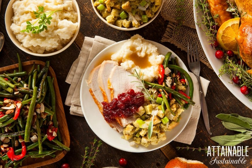 holiday dinner from above -- plate with turkey, mashed potatoes, and stuffing