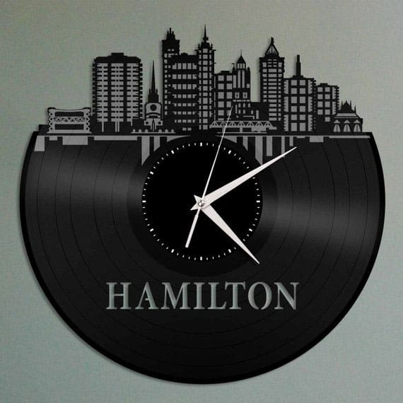 vinyl record album cut into skyline shape